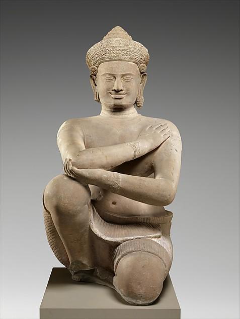 Kneeling attendant Statue from Koh Ker